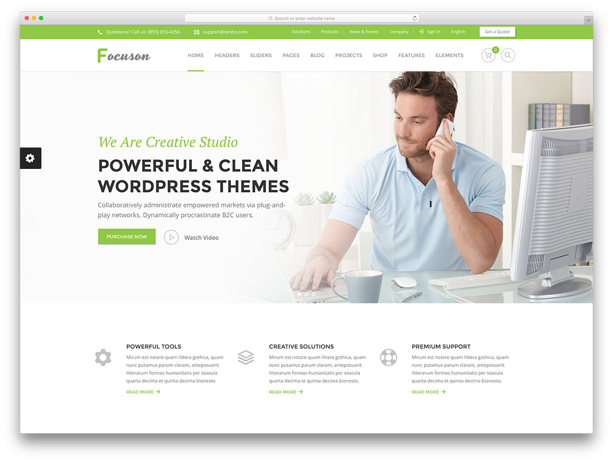 50 best wordpress corporate business themes of 2018 colorlib focuson simple business website template reheart Gallery