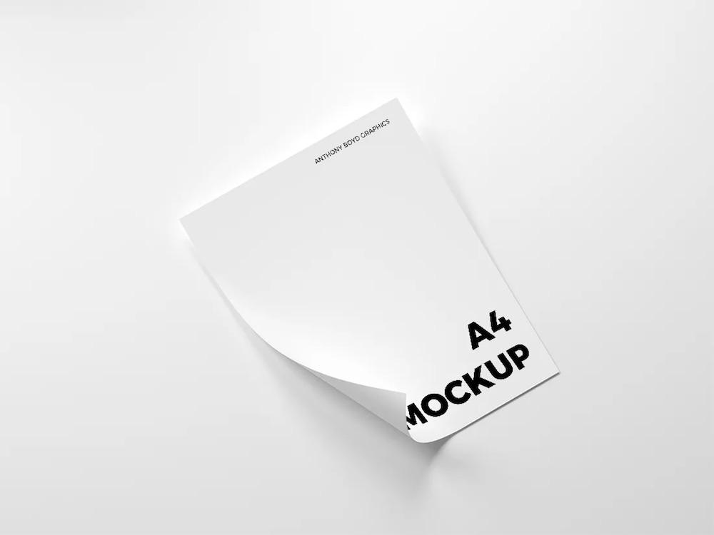 folded a4 paper mockup