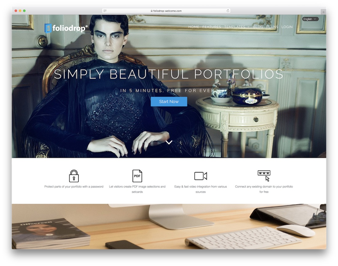 foliodrop free photography website builder