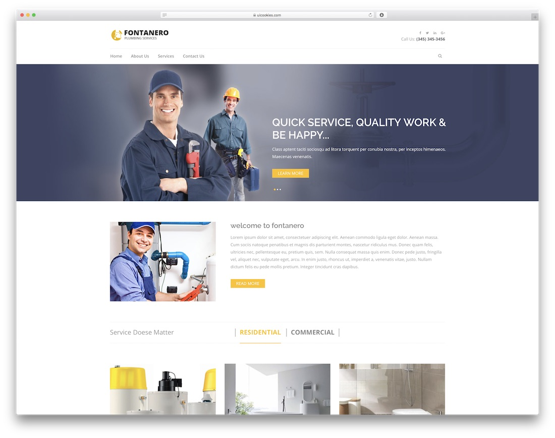fontanero free construction website template
