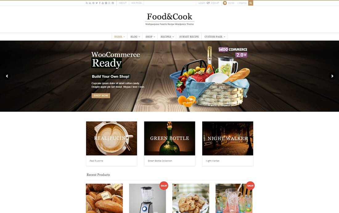 food and cook catering wordpress theme