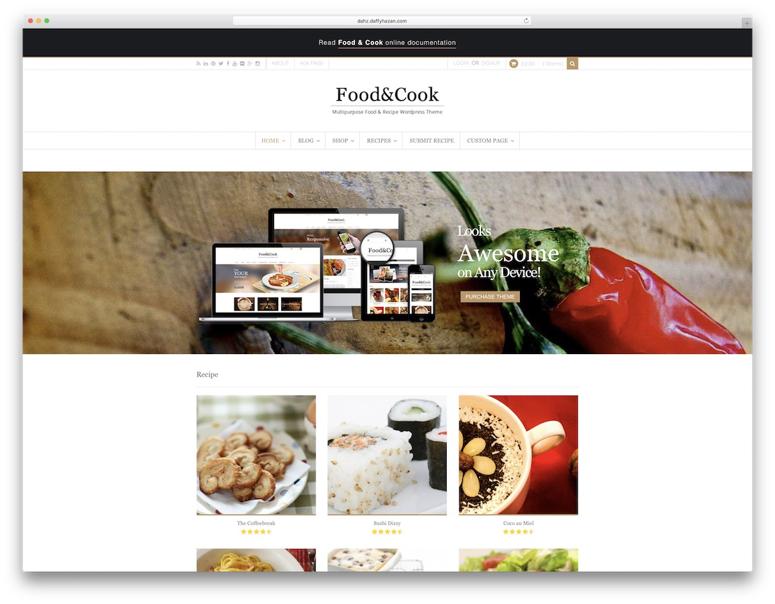 food and cook food recipes wordpress theme