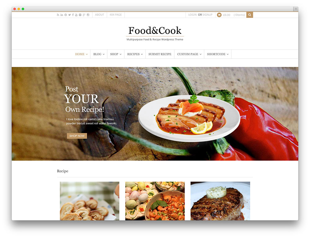 food and cook recipe sharing theme