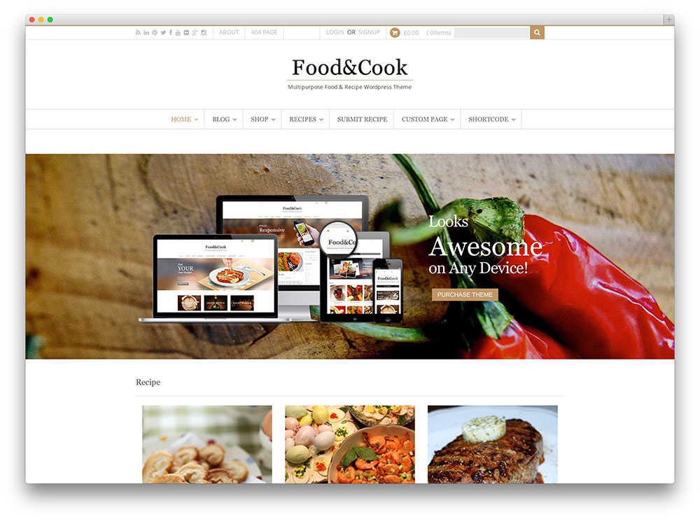 food and cook WP theme