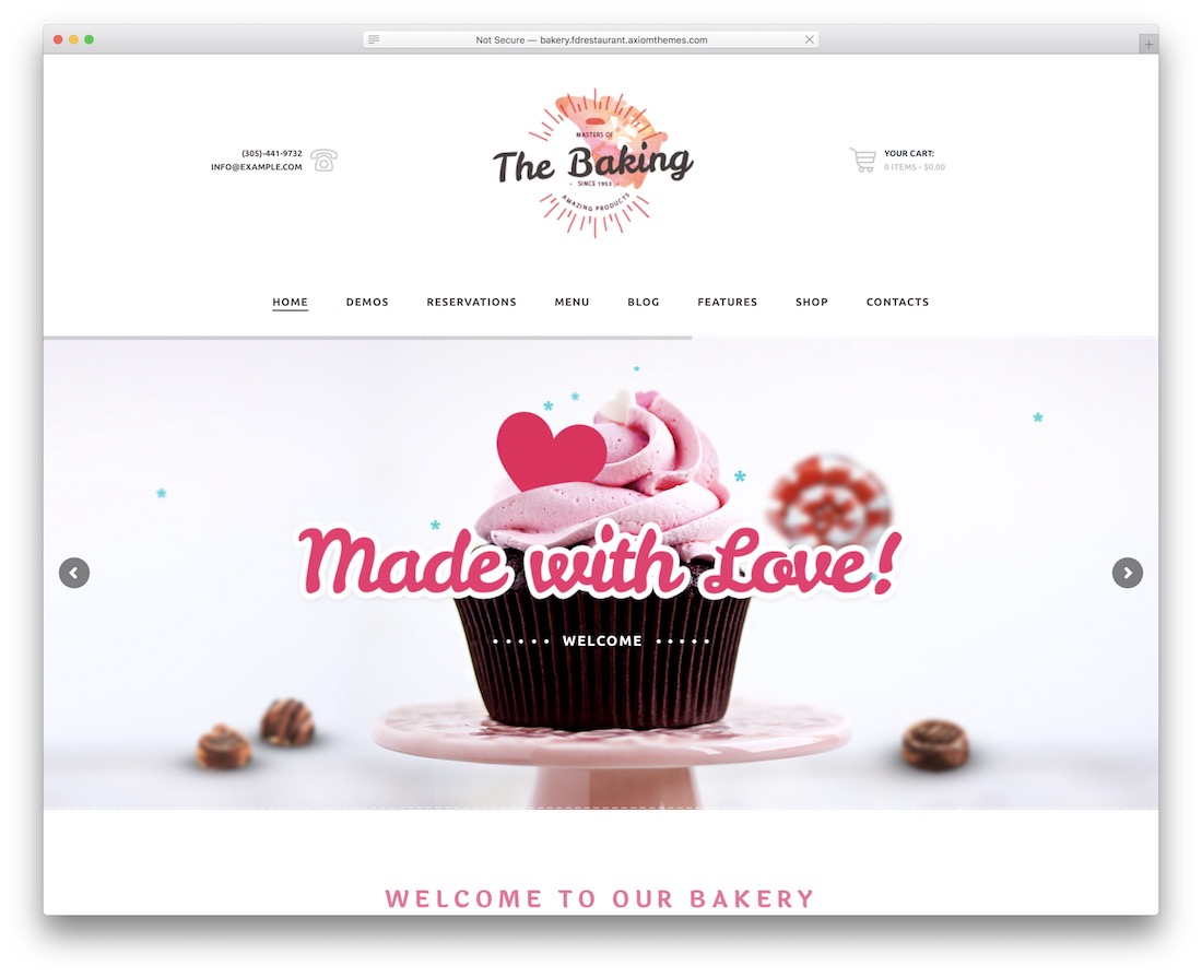 food and drink cake shops wordpress theme
