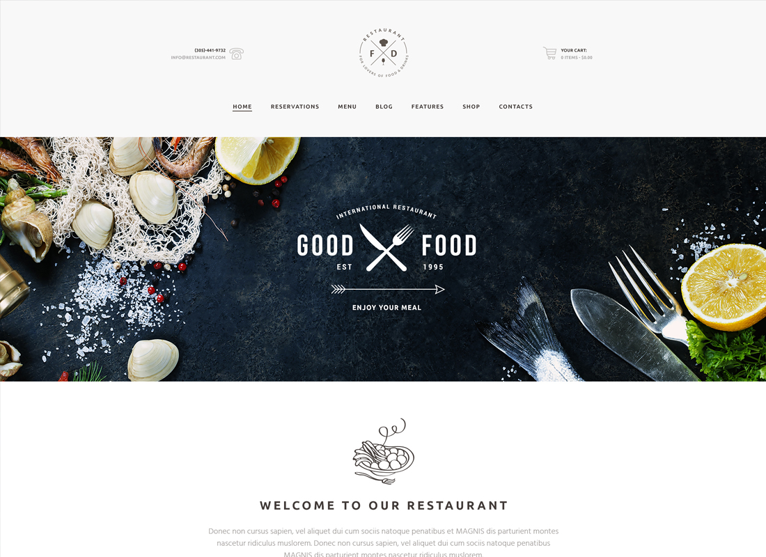 Food & Drink - An Elegant Restaurant / Cafe / Pub WordPress Theme