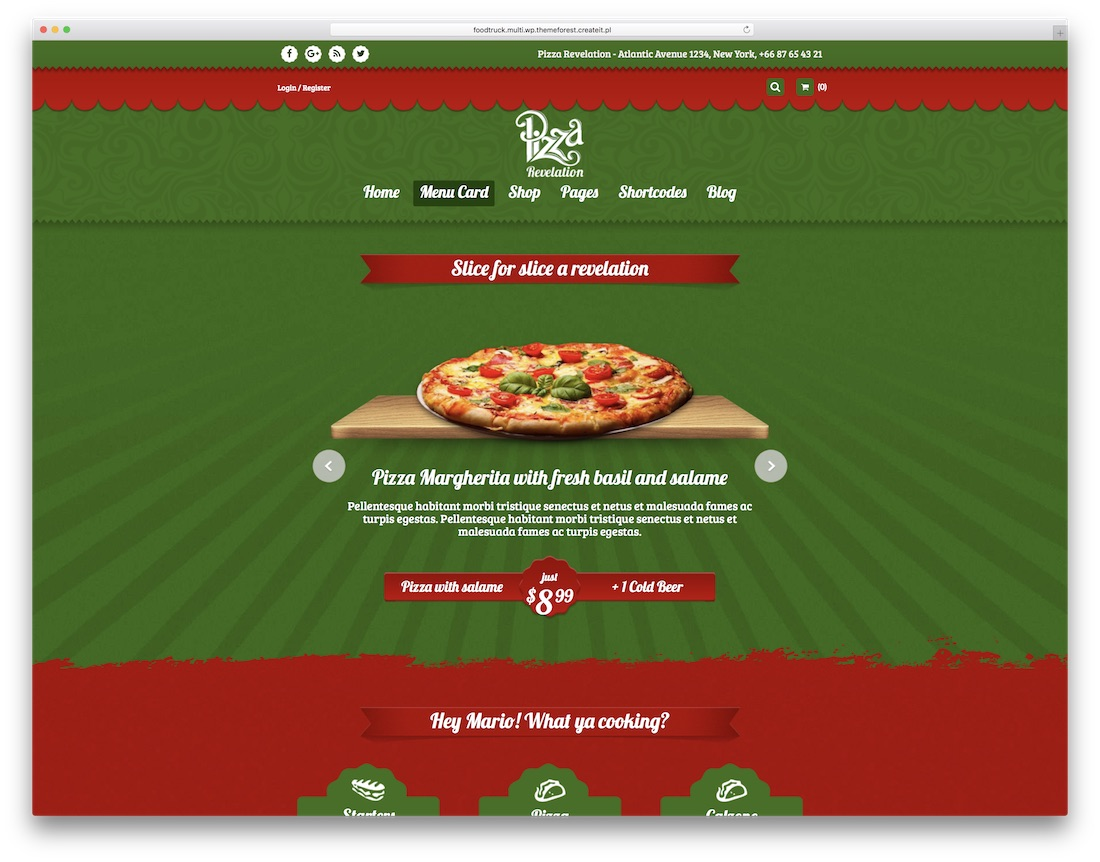 food truck pizza house wordpress theme
