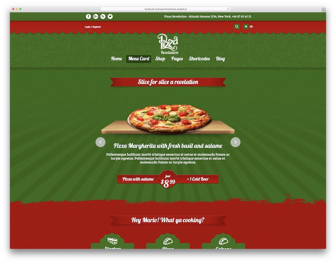 음식 트럭 피자 하우스 WordPress에 테마