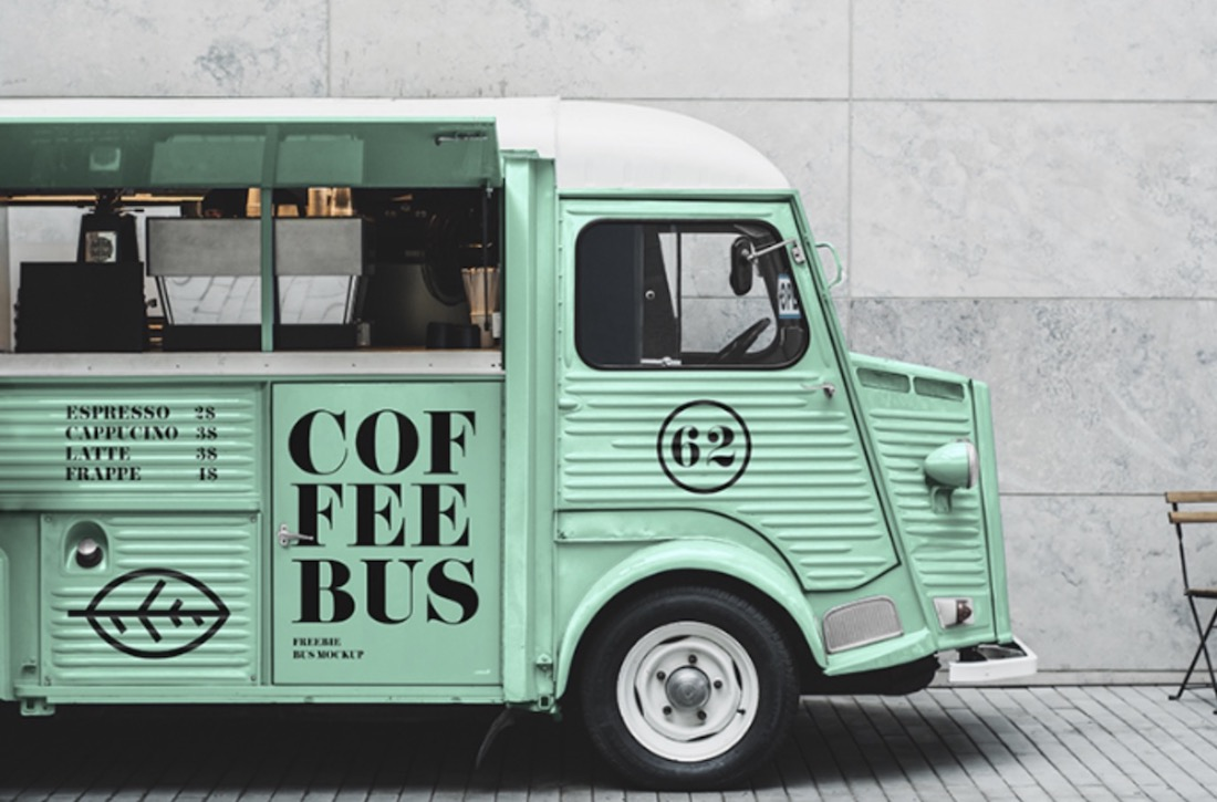 food truck psd mockup download free