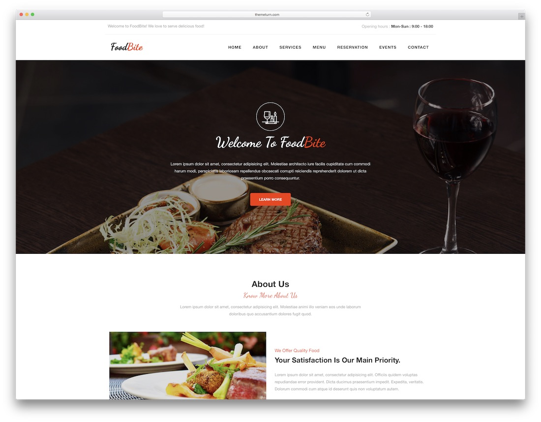 foodbite catering website template