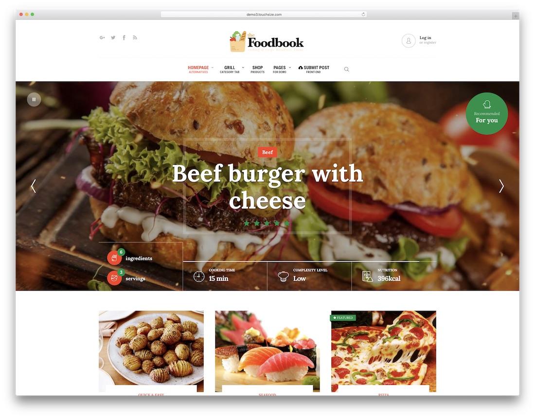 foodbook food recipes wordpress theme