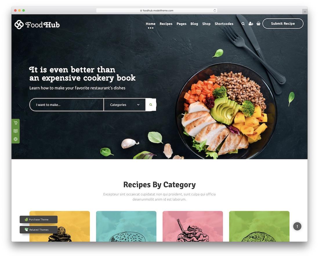foodhub recipe wordpress theme