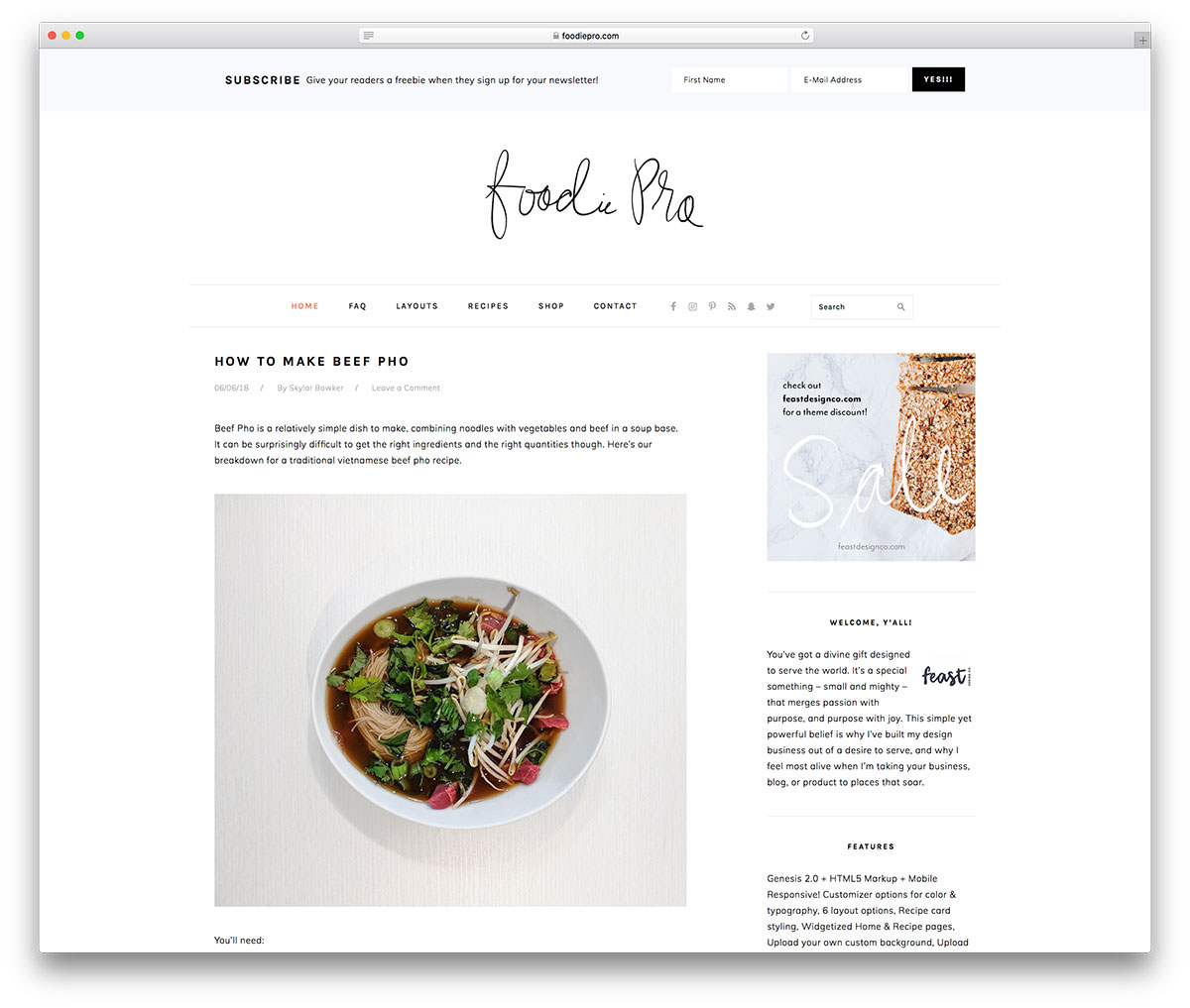 foodie pro food blog genesis theme - Best WordPress Genesis Child Themes for Businesses, Magazines, and Blogs
