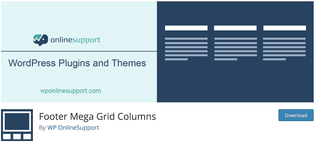 footer mega grid columns wordpress plugin