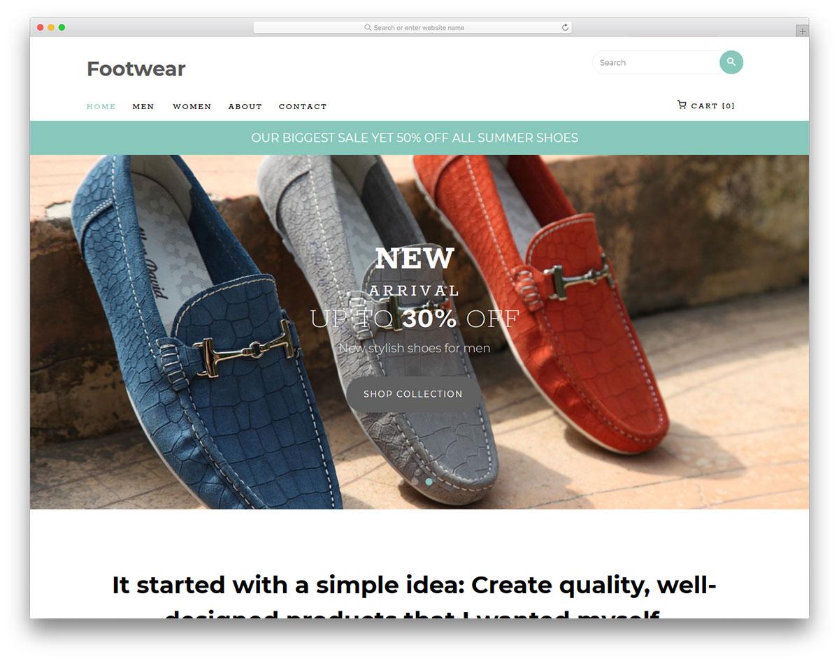 Скачать бесплатно html шаблон Footwear