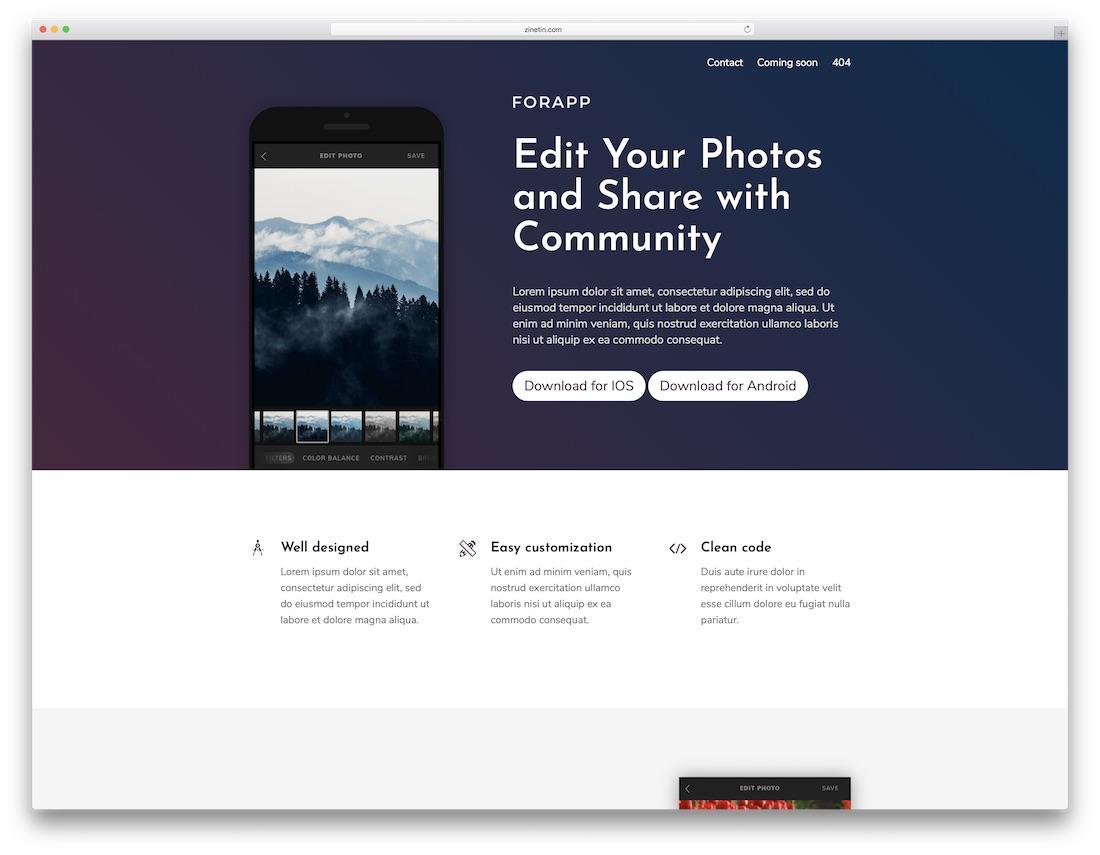 forapp cheap website template