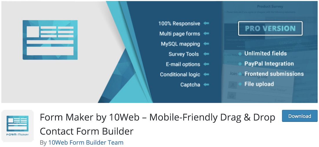 form maker by 10web free contact form plugin