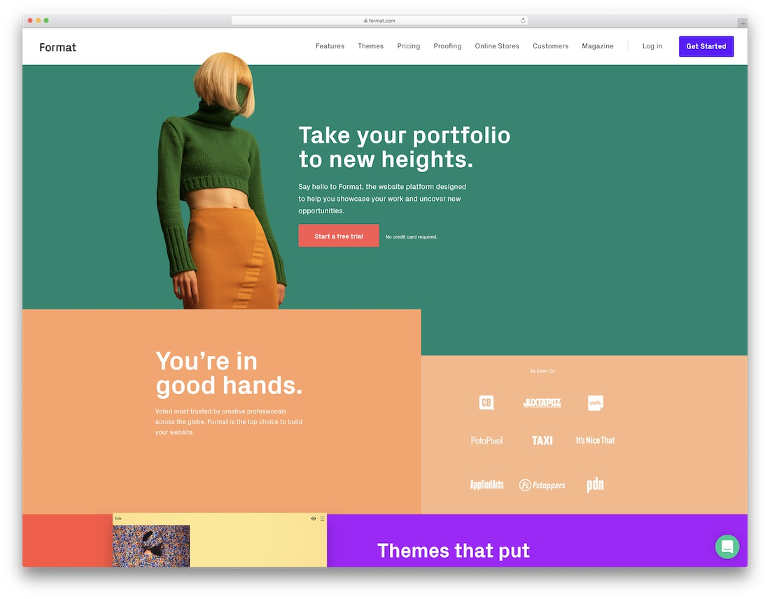 format best website builder for artists