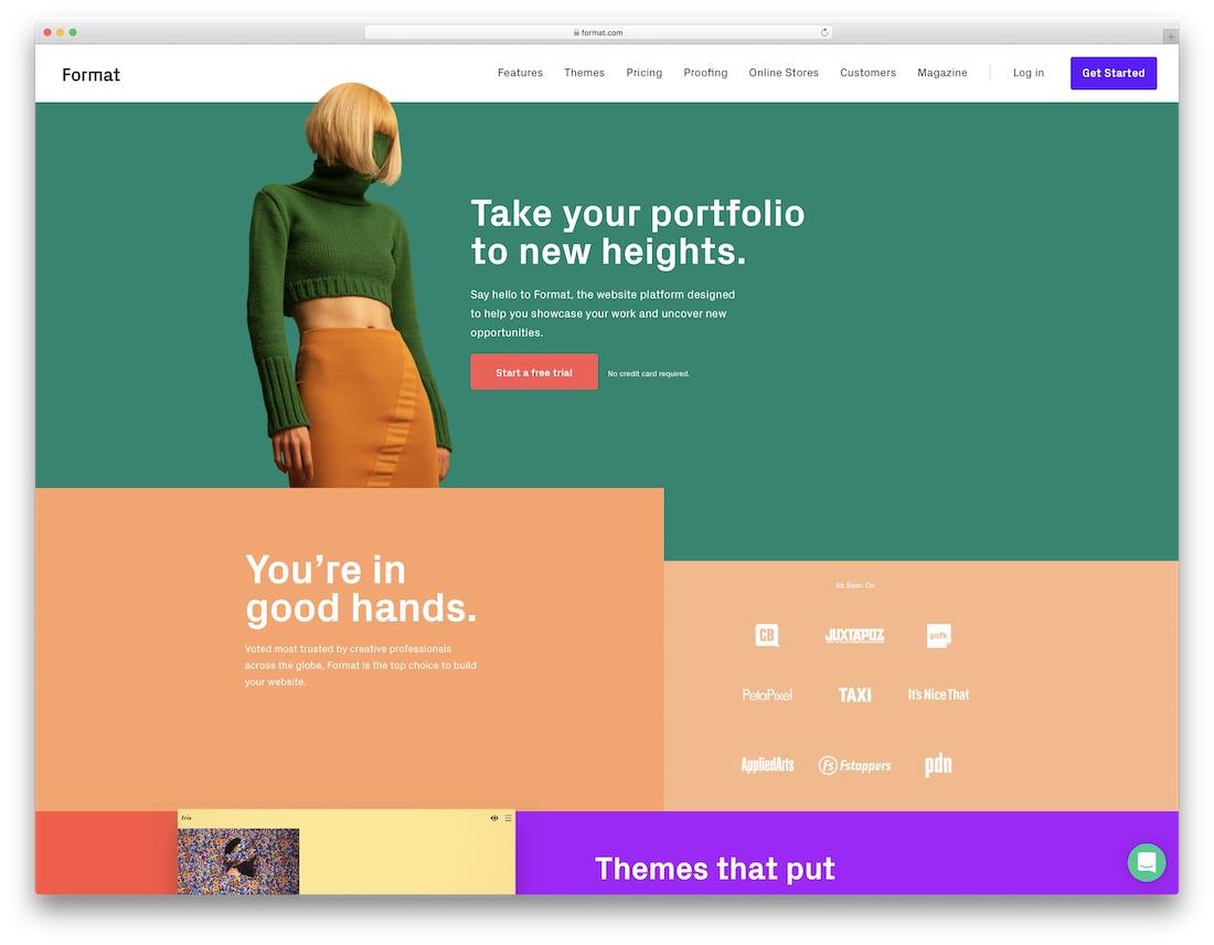 format best website builder for artists