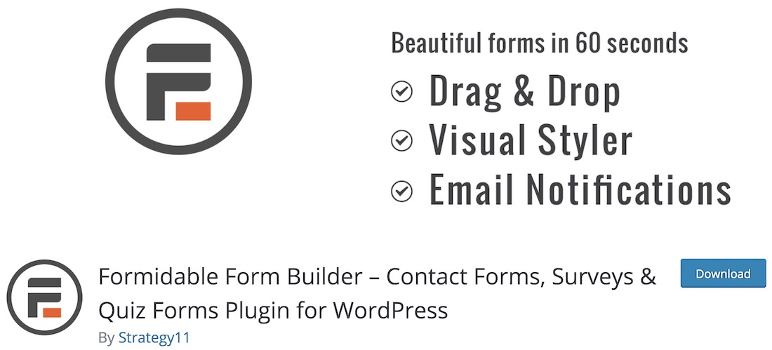 formidable free contact form wordpress plugin