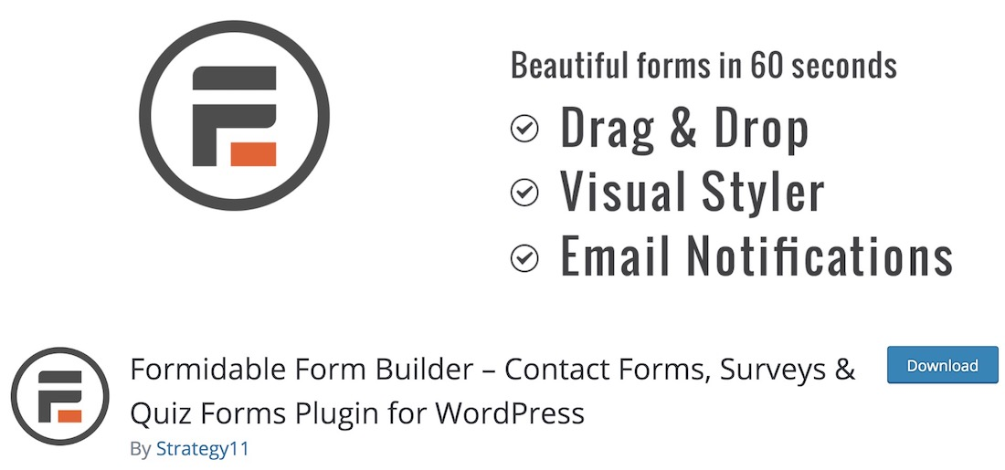 formidable free wordpress plugin