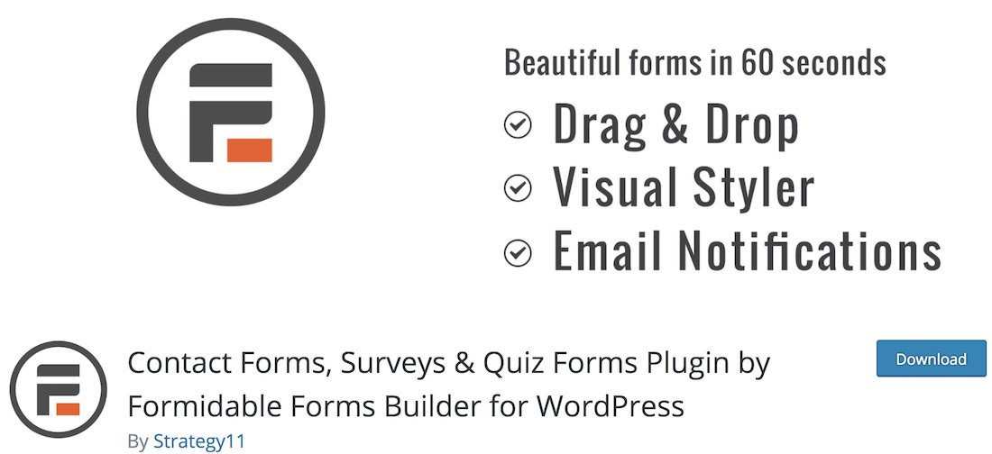 formidable wordpress quiz plugin