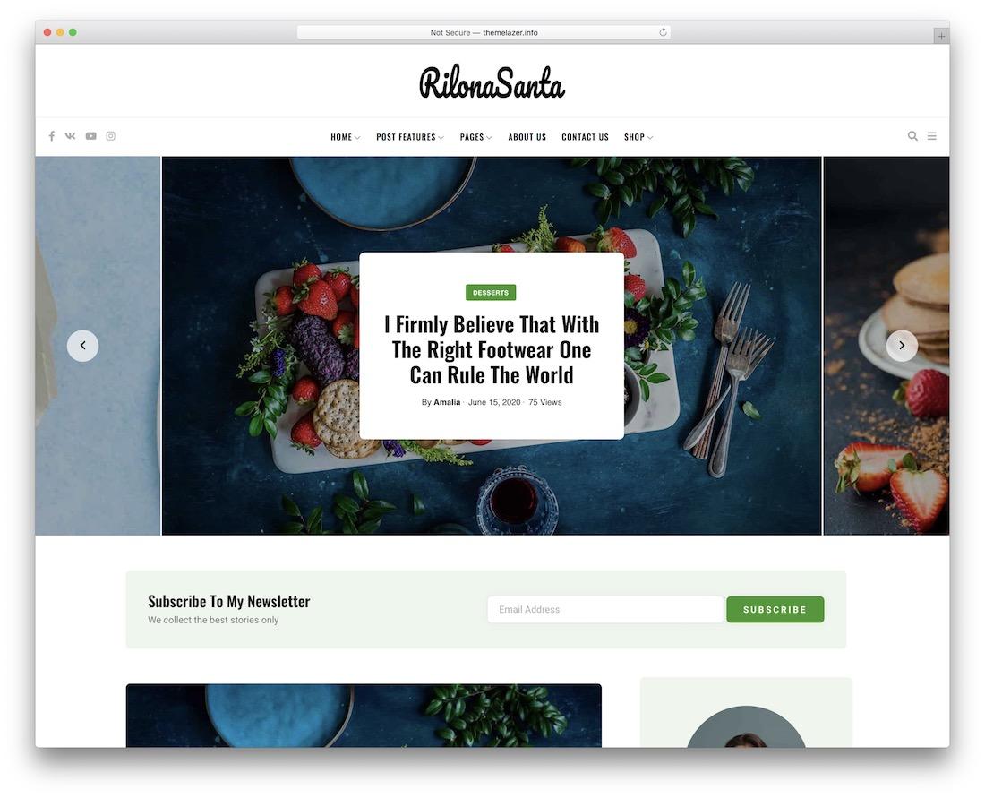 fortuni wordpress food blog theme