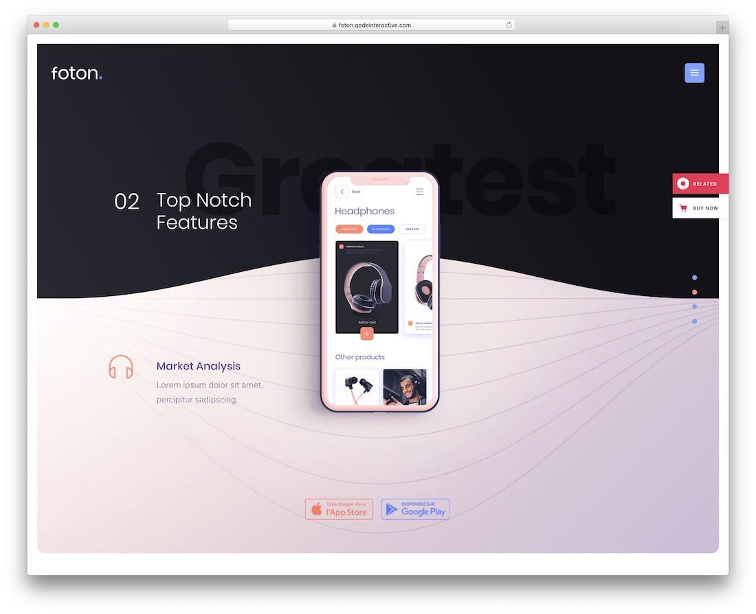 foton app showcase wordpress theme