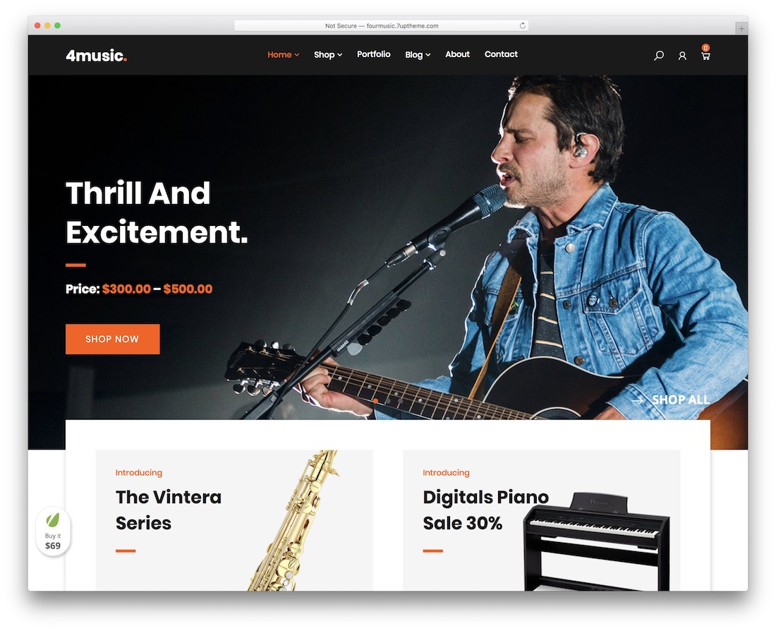 fourmusic music wordpress theme