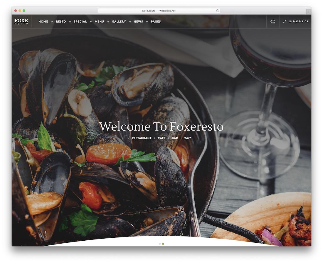 foxeresto catering website template