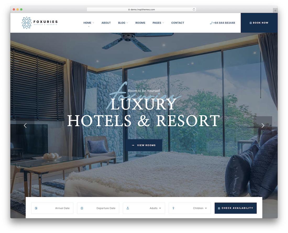 foxuries hotel wordpress theme