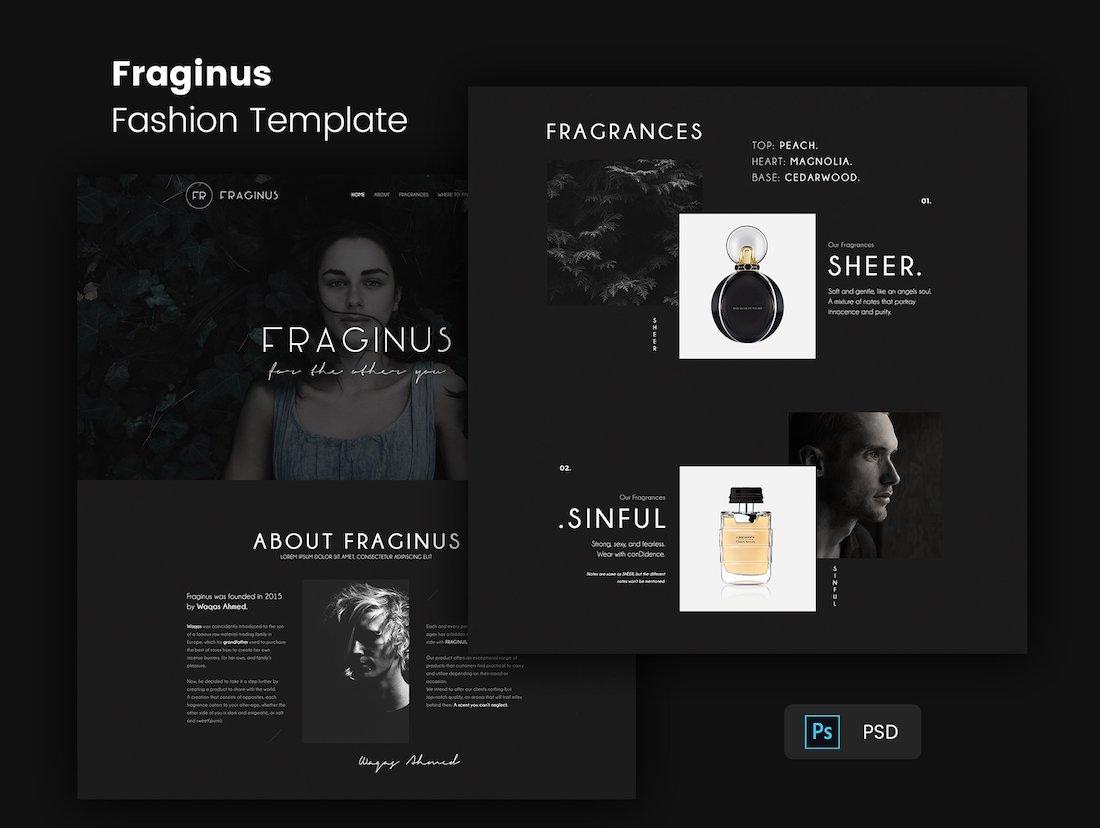 fraginus fashion psd website template