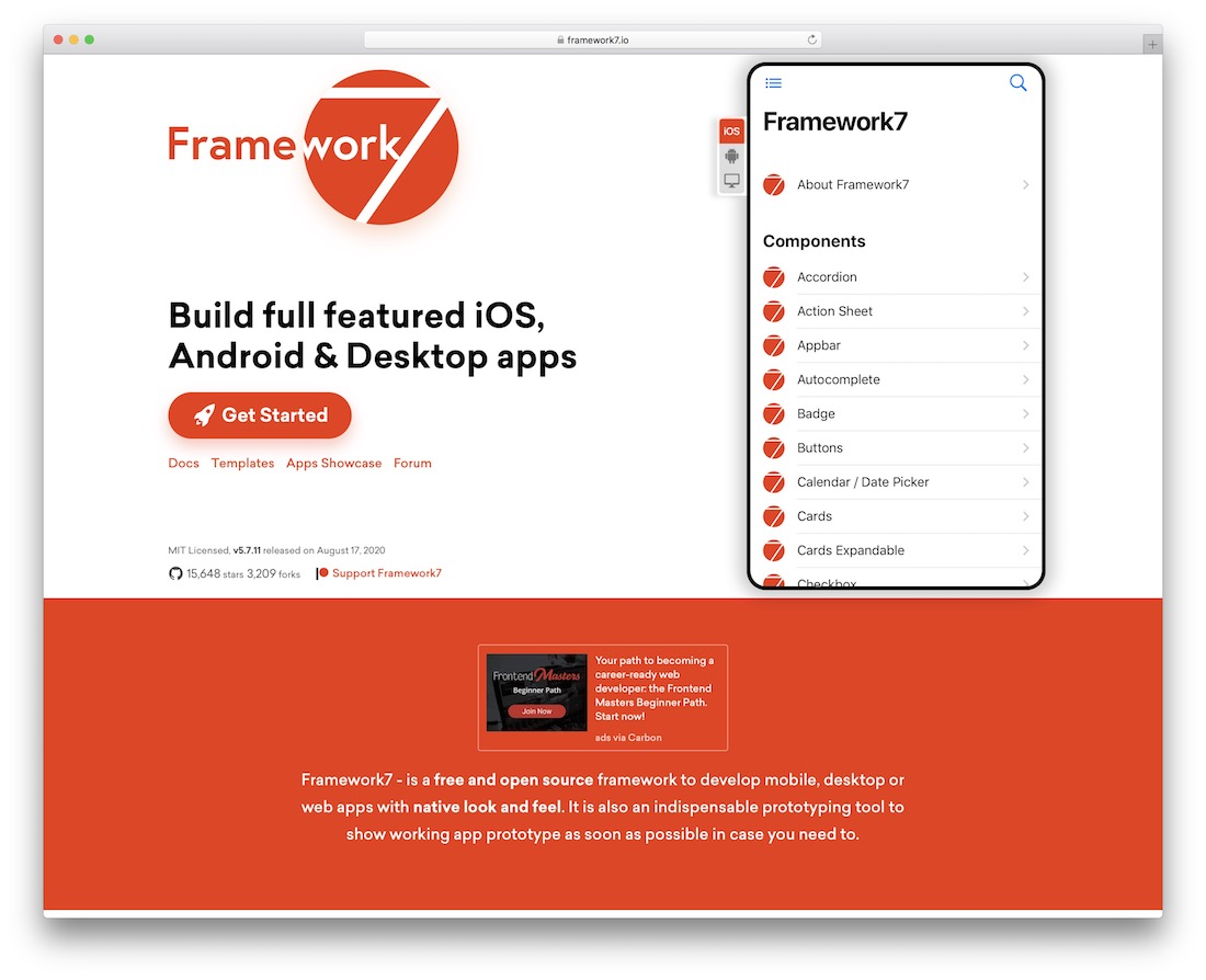 framework 7 html5 framework