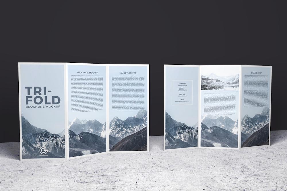 free 2 sided tri fold brochure mockup psd