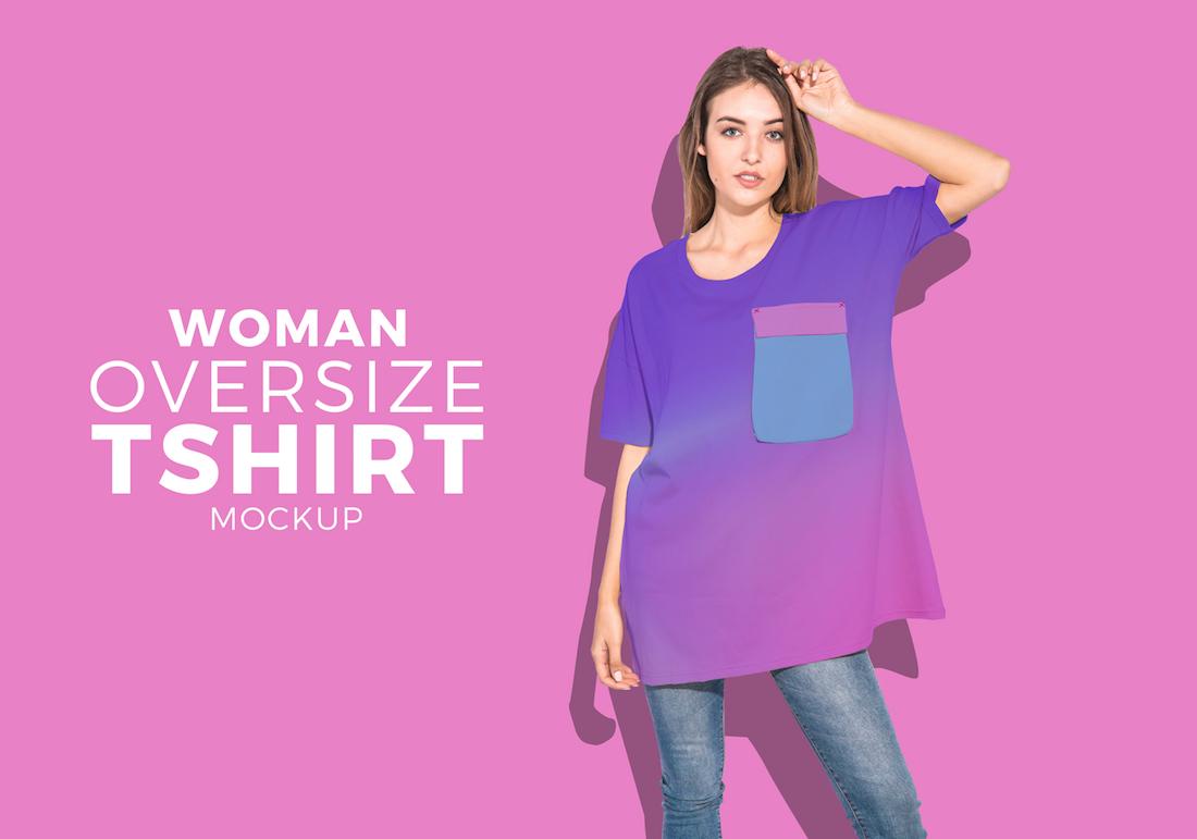 free Woman oversize t-shirt mockup