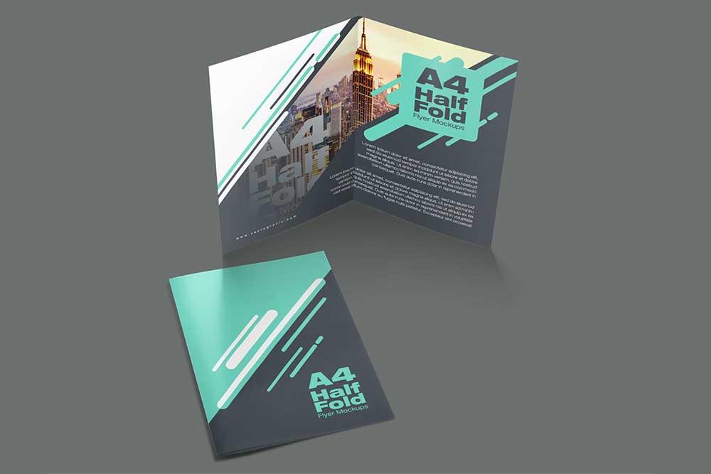 free a4 half fold flyer mockup