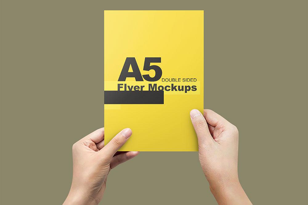 free a5 flyer psd mockup