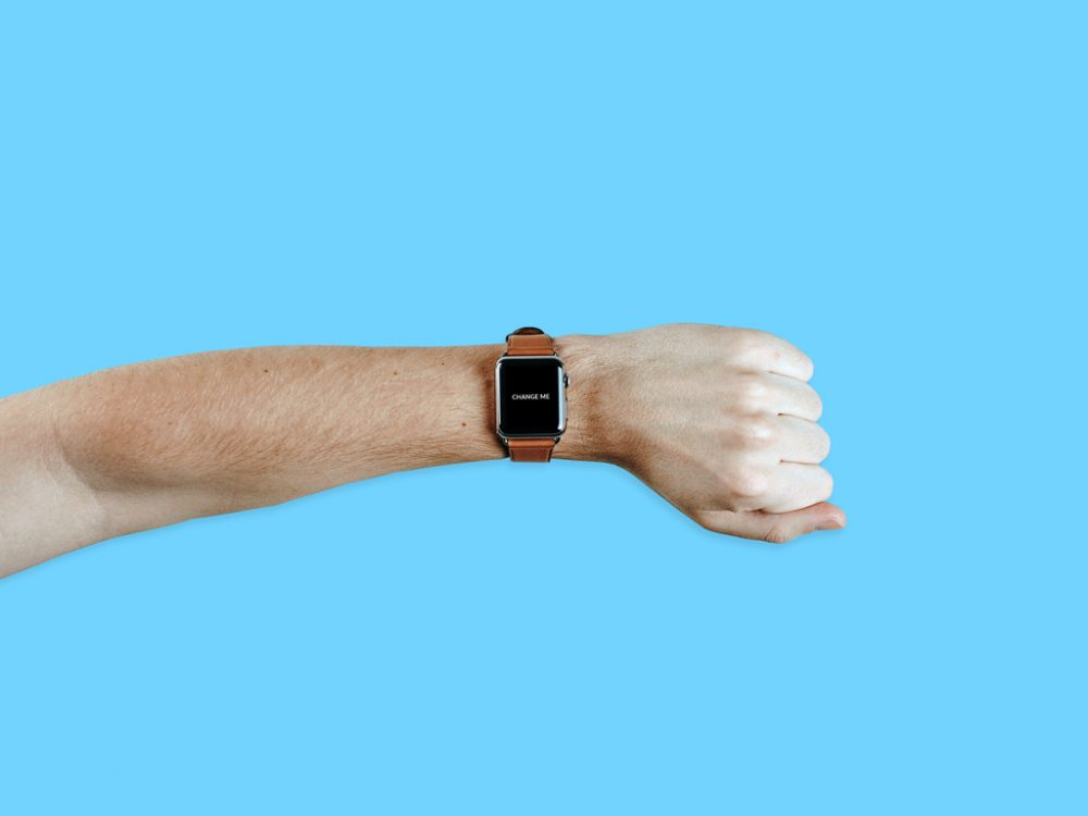 free apple watch male wrist mockup psd