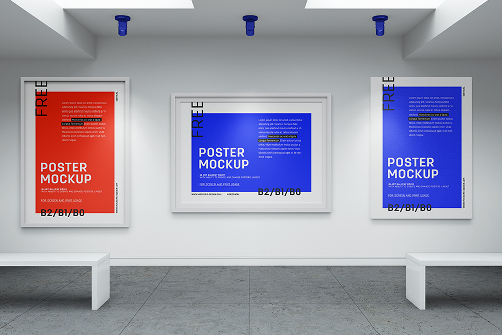 free art gallery poster mockup