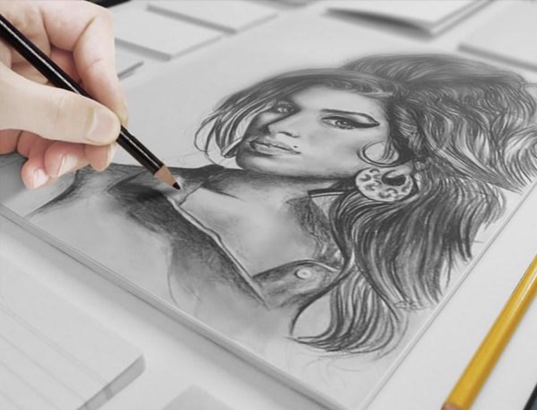 free artist canvas sketch mockup