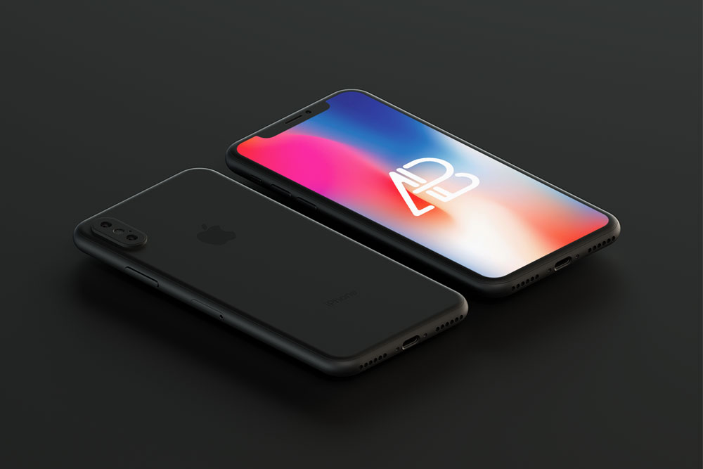 free black iphone x mockup