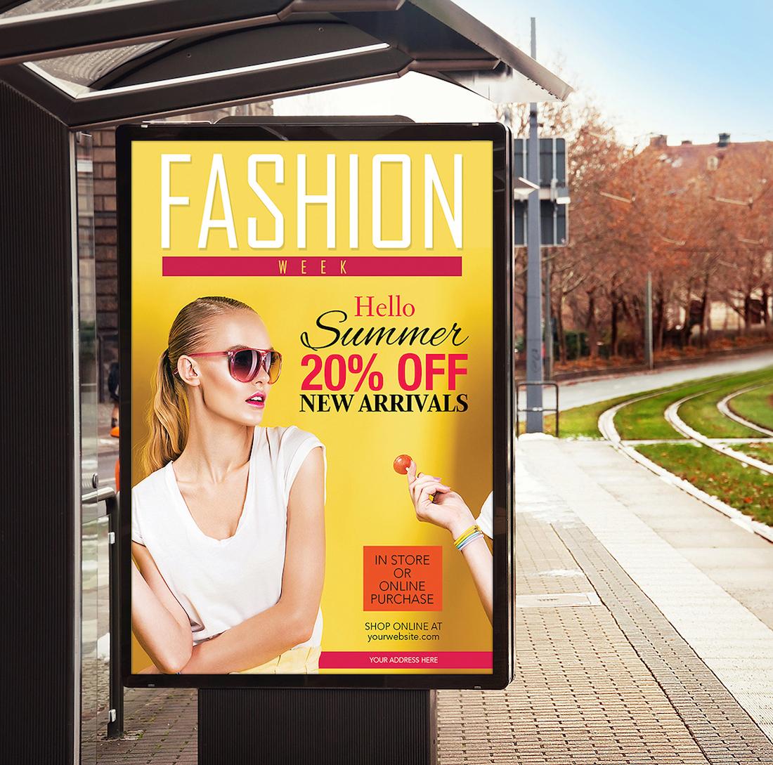 free bus stop billboard banner mockup