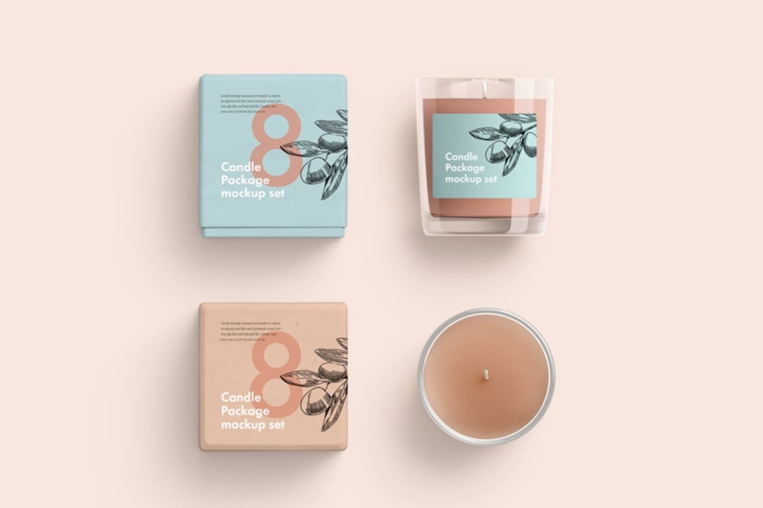free candle package set psd mockup