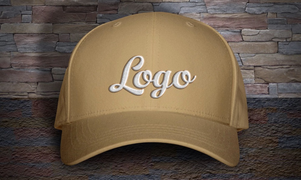 free cap with woven logo psd mockup