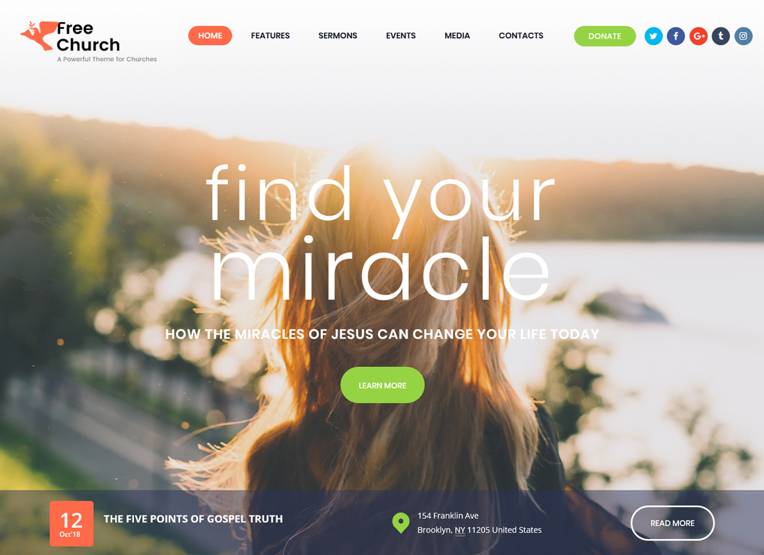 Free Church - Religion & Charity WordPress Theme