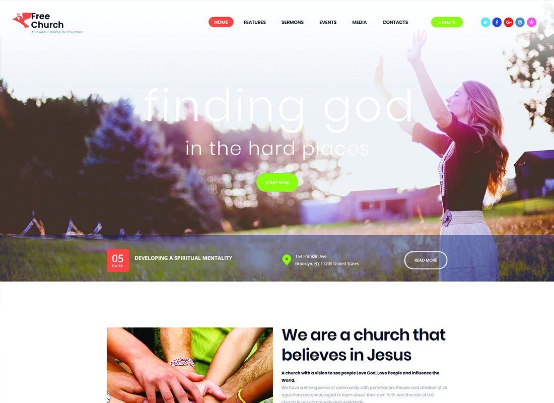 Free Church - Religion & Charity WordPress Theme