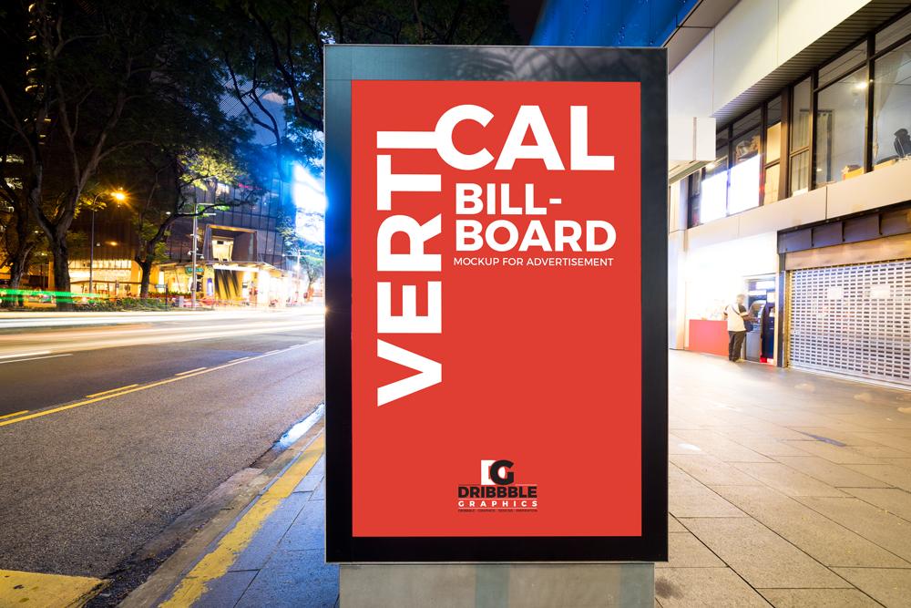 free city street vertical billboard mockup for advertisement