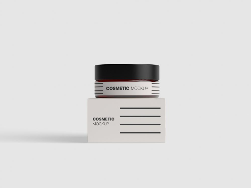 free cosmetic jar box mockup psd