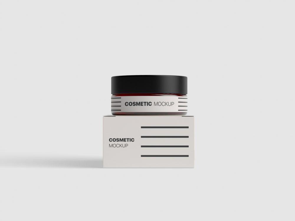 free cosmetic jar box mockup psd