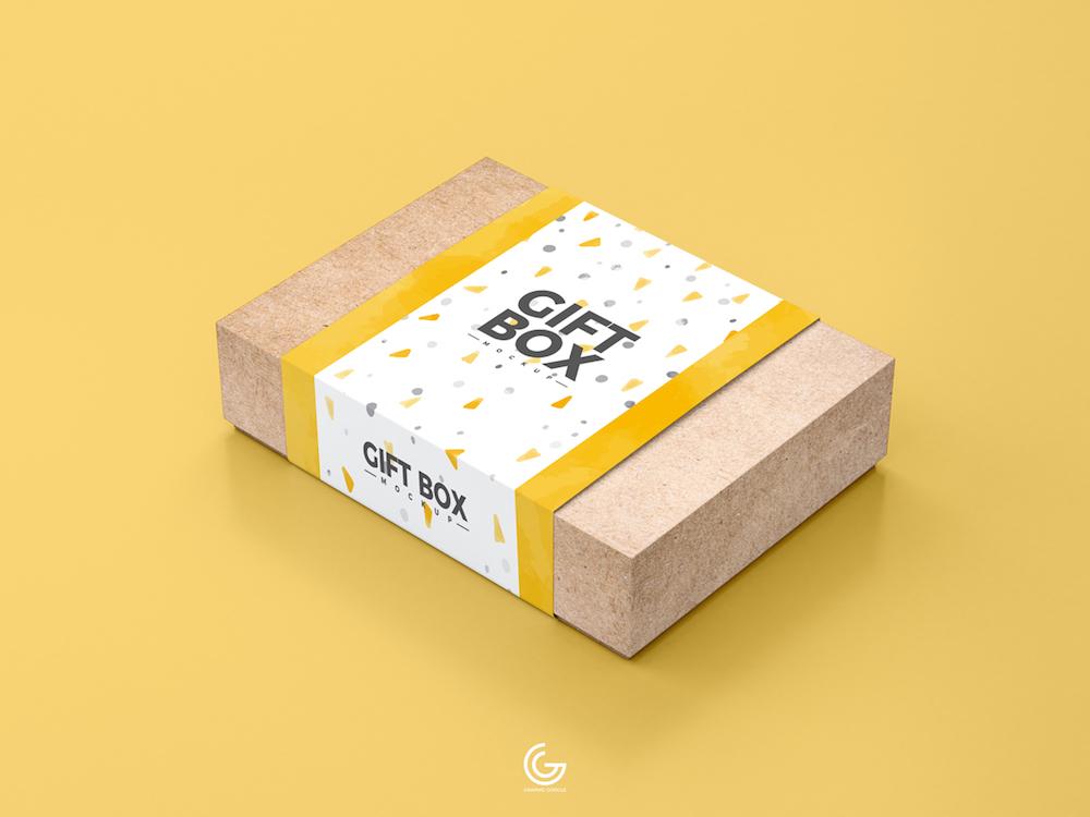 Maquette de boîte-cadeau en papier kraft gratuite PSD
